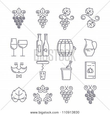 Wine Bottle, Glass, Grape Vine And Leaf, Food And Drink Line Illustration.