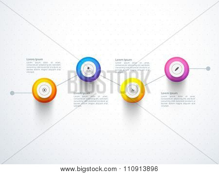 Creative Business Infographic layout with web icons.