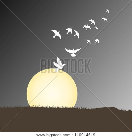 Vector Moon Night with Dove Flying Towards Sky