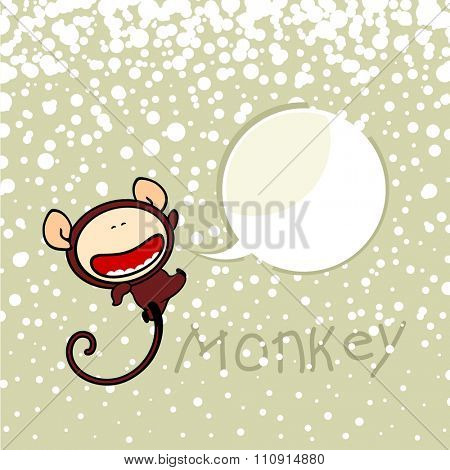 New year greeting card with the Monkey and speech bubble window for your text (raster version)