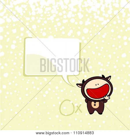 New year greeting card with the Ox and speech bubble window for your text (raster version)