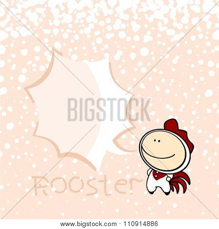 New year greeting card with the Rooster and speech bubble window for your text (raster version)