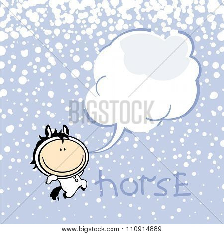 New year greeting card with the Horse and speech bubble window for your text (raster version)