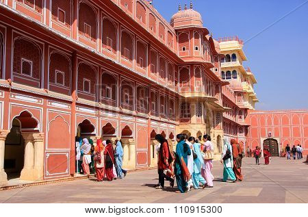 Jaipur, India - February 27: Unidentified People Walk In Chandra Mahal On February 27, 2011 In Jaipu