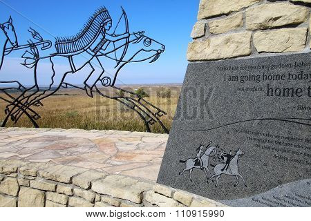 Indian Memorial At Little Bighorn Battlefield National Monument, Montana, Usa