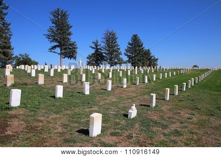 Custer National Cemetery At Little Bighorn Battlefield National Monument, Montana, Usa