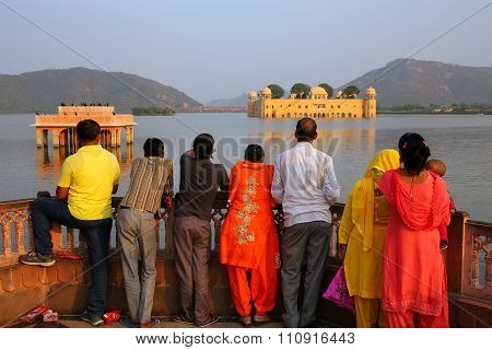 Delhi, India - November 13: Unidentified People Stand By Jal Mahal And Man Sagar Lake On November 13