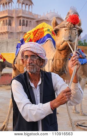 Jaipur, India - November 13: Unidentified Man Stands With Camel On November 13, 2014 In Jaipur, Indi