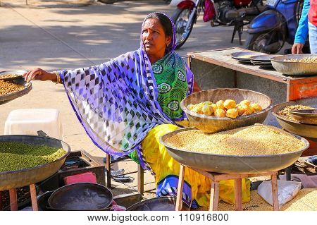 Jaipur, India - November 14: Unidentified Woman Sells Goods Near City Palace On November 14, 2014 In