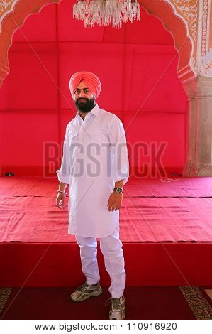 Jaipur, India - November 14: Unidentified Man Stands In City Palace On November 14, 2014  In Jaipur,