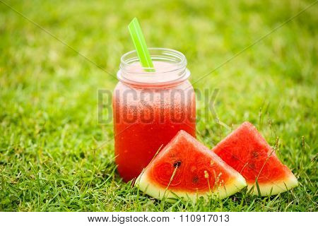 Water Melon Smoothie On The Grass