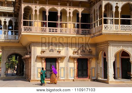 Jaipur, India - November 15: Unidentified Women Walk In City Palace On November 15, 2014  In Jaipur,