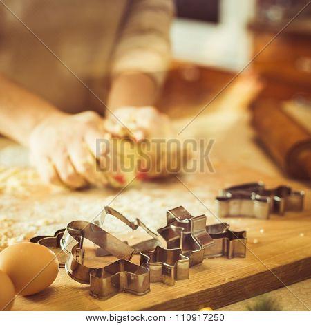 Housewife Kneading Dough