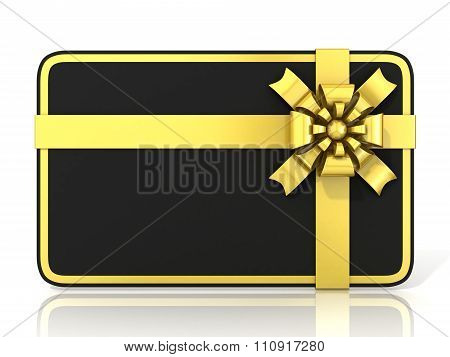Black blank gift card with golden ribbon. Front view