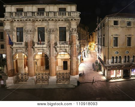 Night Vision Of The Main Square Of Vicenza Called Piazza Dei Signori And The Town Hall