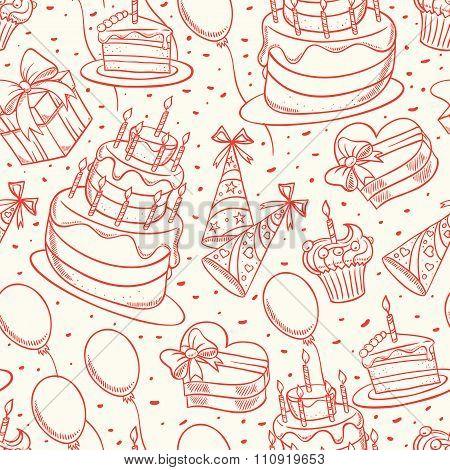 Cute Birthday Sketch Seamless Background