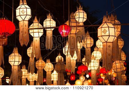 Northern Thai Style Lanterns At Loi Krathong Festival
