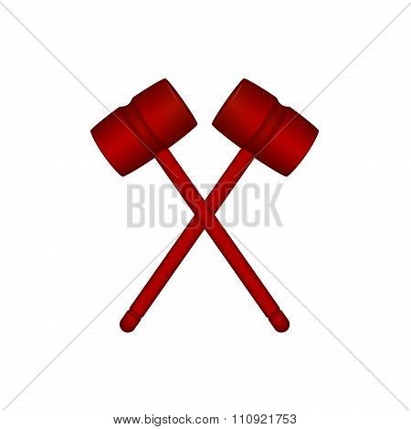 Two crossed wooden mallets in red design