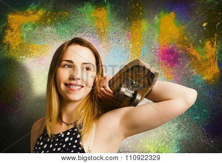 Grunge Skateboarding Girl On Graffiti Wall