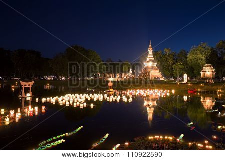 Loy Kratong Festival At Sukhothai Historical Park