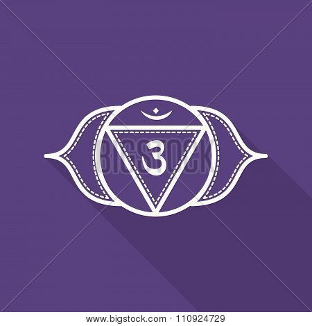 Ajna.  Beautiful Indian Ornamental 7 Chakras Collection. Vector Illustration. Color Yoga Chakra Flat