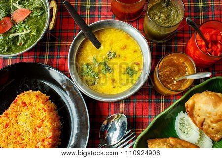 Indian Dishes. Rice, Dal, Palak Paneer, Chapatti