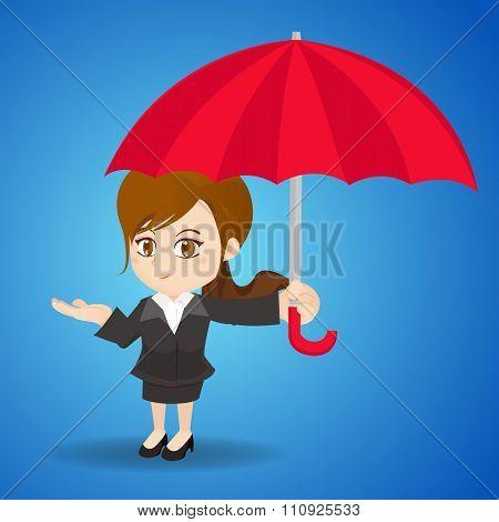 Cartoon Illustration Businesswoman With Umbrella