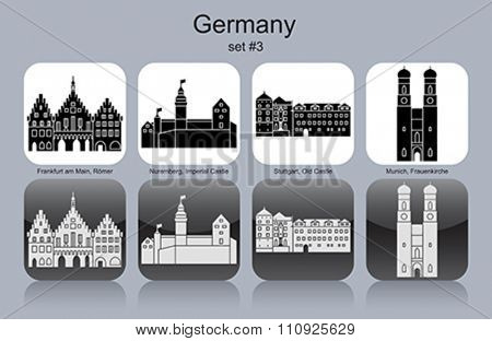 Landmarks of Germany. Set of monochrome icons. Editable vector illustration.