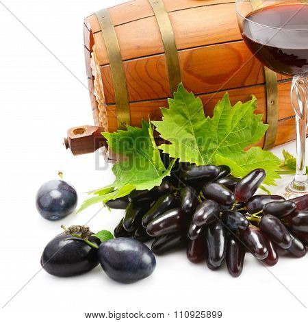 Glass Of Wine And Barrel Isolated On White Background
