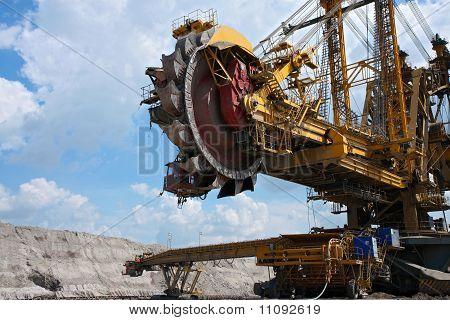 Yellow Big Steel Excavator In Coal Mine