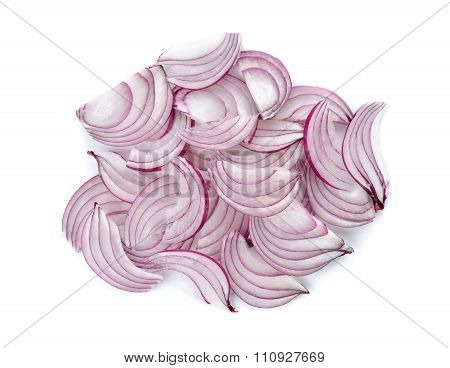 Stack Of Sliced Red Onion, Shallots On White Background
