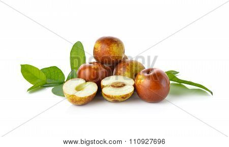 Chinese Jujubes Fruits On White Background