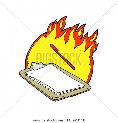 freehand drawn cartoon clip board on fire