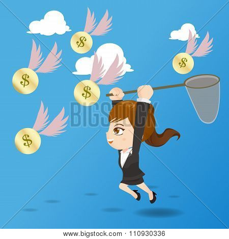 Cartoon Illustration Businesswoman Catching Money