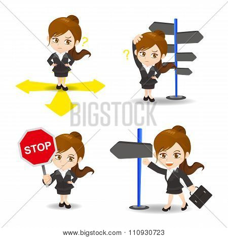 Cartoon Illustration Businesswoman Choose Directions