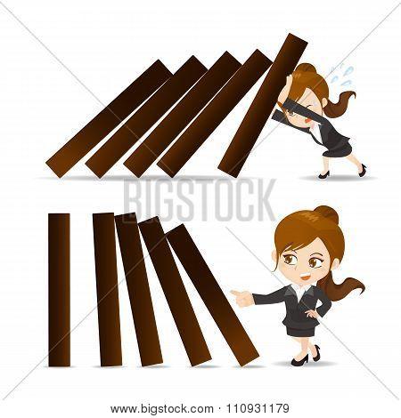 Business Woman Push Domino