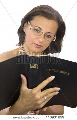 Beautiful Woman Reading Bible