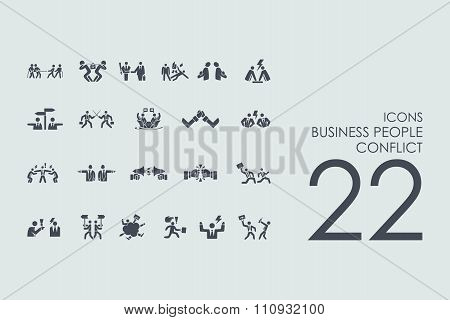Set of business people conflict icons
