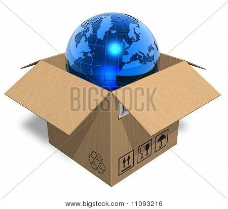 Earth globe in cardboard box