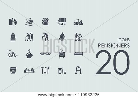 Set of pensioners icons
