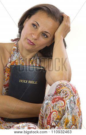 Beautiful Woman Holding Holy Bible