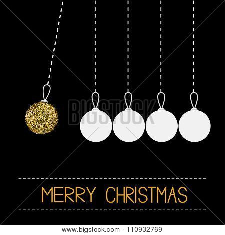 Five Hanging Christmas Ball Toy. Dash Line. White And Gold Glitter. Perpetual Motion. Black Backgrou