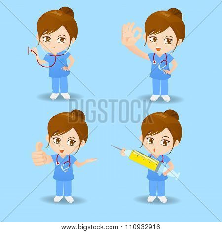 Cartoon Doctor Surgeon Woman