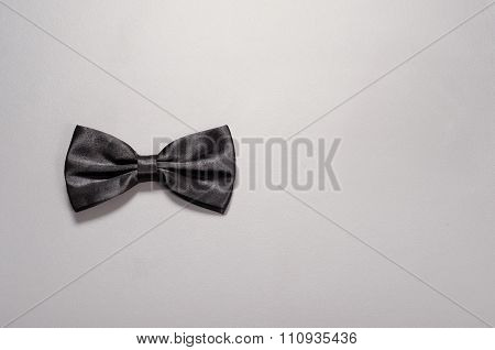 Black Bow Tie On Gray Background