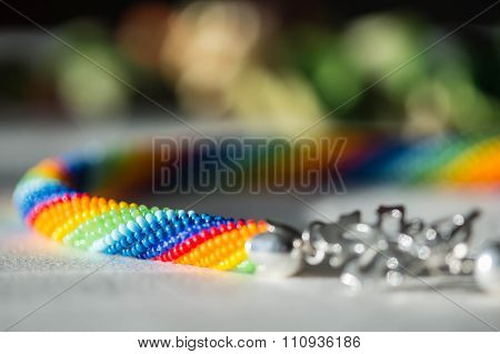 Beaded Necklace Made From Seed Beads Rainbow Colors