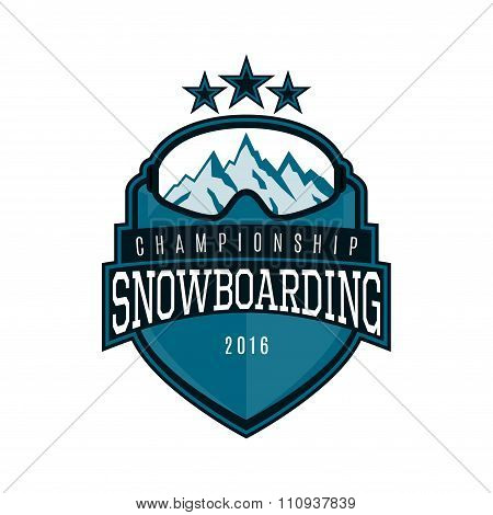 Vector Label Of Snowboarding
