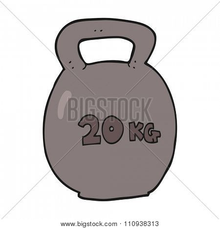 freehand drawn cartoon 20kg kettle bell