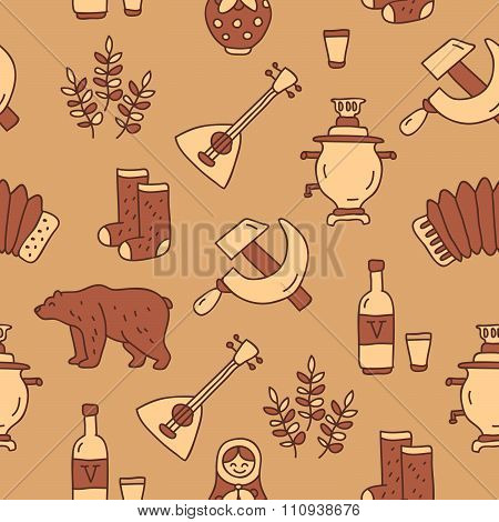 Seamless pattern of Russian icons