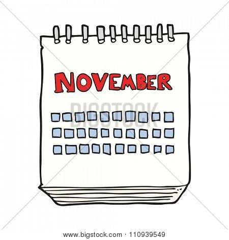 freehand drawn cartoon calendar showing month of november