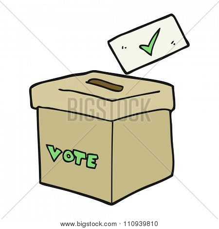 freehand drawn cartoon ballot box